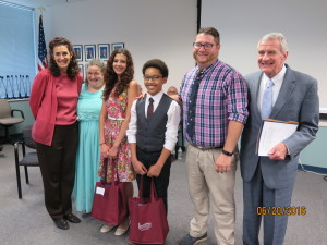 Lynne Azarchi, Executive Director/Kidsbridge; Emily Bengels, nominator and teacher at Readington MS; Allison Vandal, co-winner; Elias Stevens, co-winner; nominator and teacher Matthew Bergman from Northstar Academy and Larry Glaser, Executive Director of NJ Holocaust Commission.