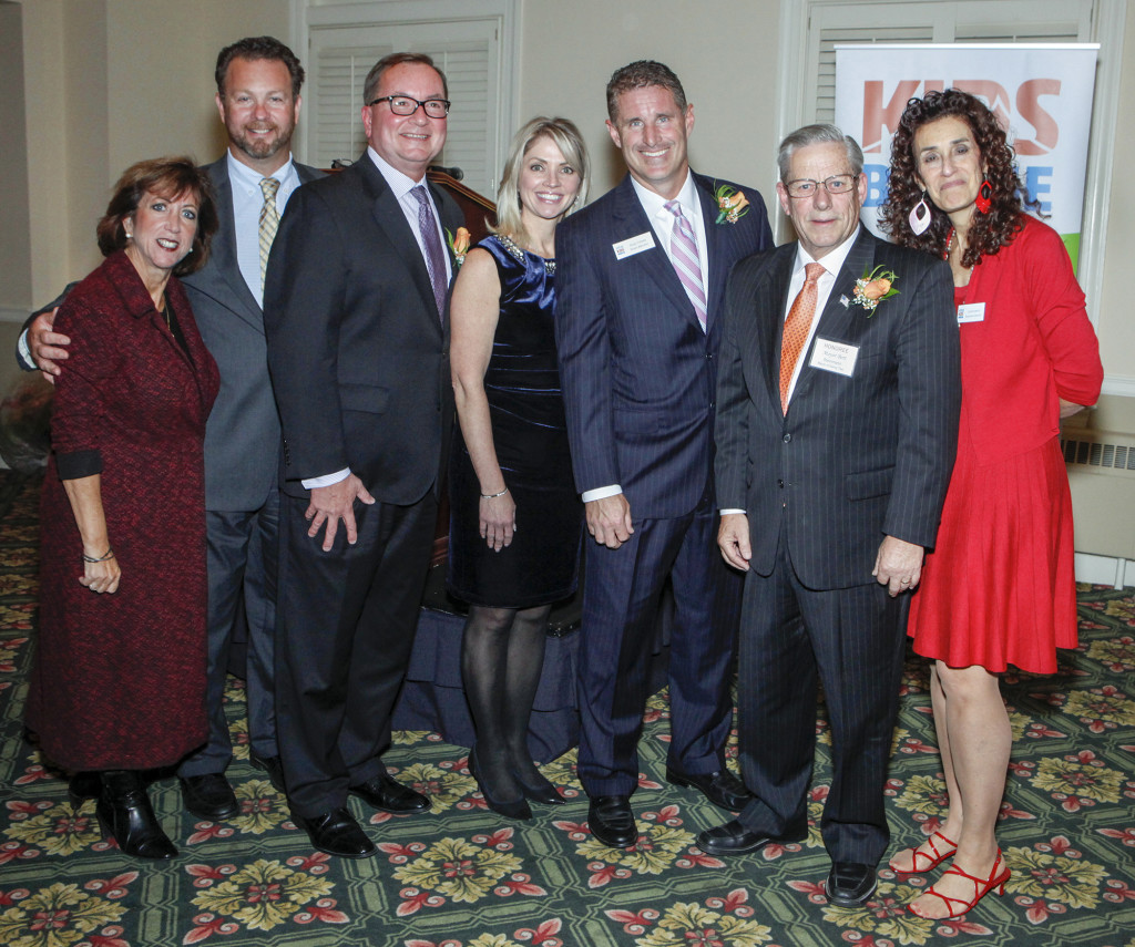 Kidsbridge Tolerance Center Trustee Lori Danko, Kidsbridge Board Chair Frank Lucchesi, honoree Hal English of Grand Bank, honoree Denise Taylor of Great Looks Hair Salon, honoree Brian O'Reilly of Philadelphia Insurance, honoree Ewing Mayor Bert Steinmann and Kidsbridge Executive Director Lynne Azarchi at the 10th Annual Kidsbridge Tolerance Center's Humanitarian Awards Celebration held at the Trenton Country Club in Trenton, N.J. Thursday night, November 3, 2016. (Photo by Cie Stroud for Kidsbridge)Thursday night, November 3, 2016. (Photo by Cie Stroud for Kidsbridge)